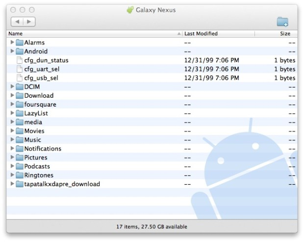 Android File Transfer Galaxy Nexus