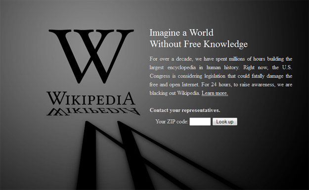 wikipedia goes dark to protest sopa