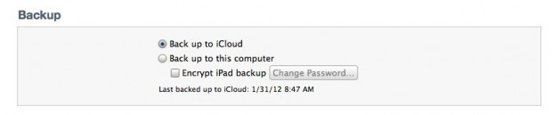 iTunes iPad Backup