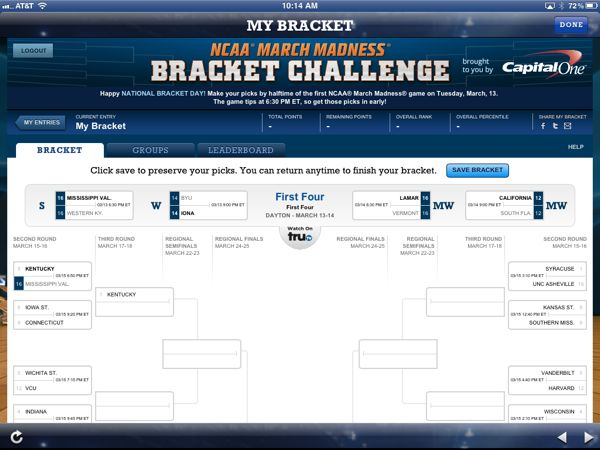 NCAA March Madness Brackets Page