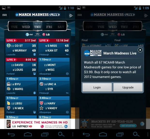 March madness App Galaxy Nexus