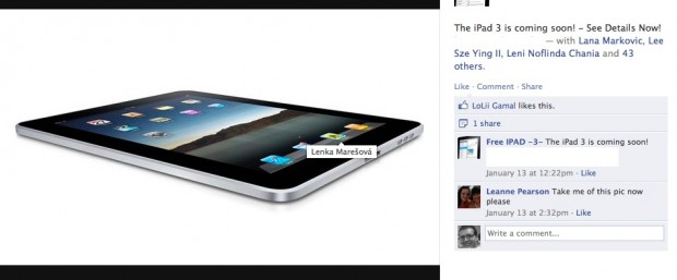free ipad 3 on facebook trick