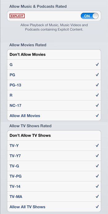 Media restrictions - iPad Restrictions Parental Controls