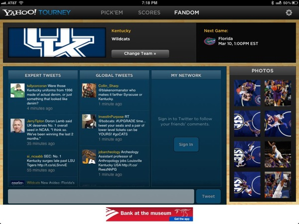 Yahoo Tourney iPad App