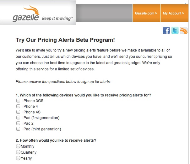 Gazelle Pricing Alerts Beta