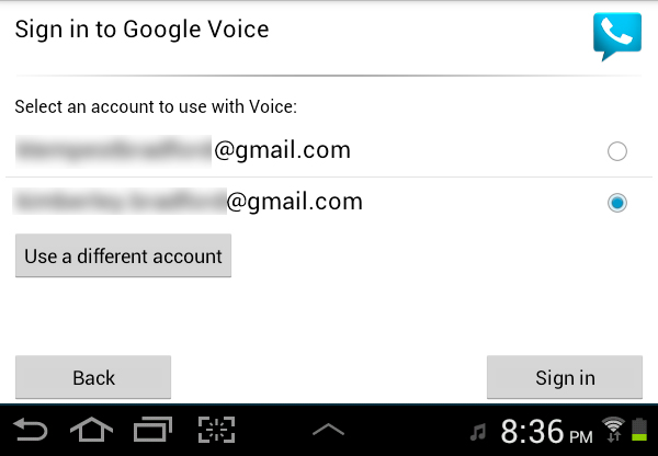 Google Voice Setup Choose Account