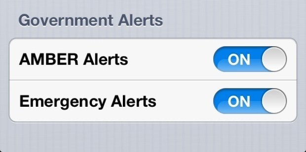 Emergency Alert Toggle iOS 6