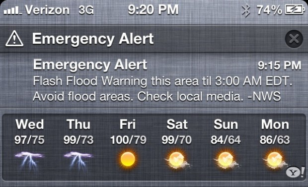 Emergency Alert in iOS 6 Notification Center