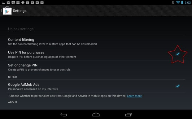 Google Play Store PIN Nexus 7
