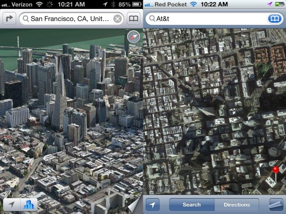 Apple Maps Flyover City Satellite iOS 6 vs iOS 5