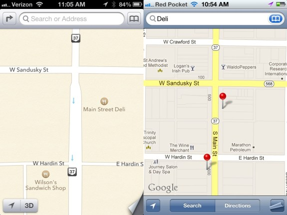 iOS 6 vs iOS 5 Maps on iPhone Points of Interest