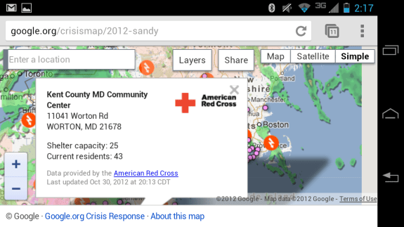 Hurricane Sandy Shelter Map