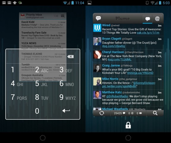 Android 4.2 Lock Screen Widgets