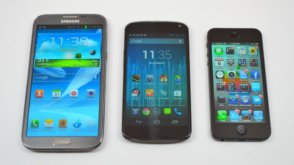 The Nexus 4 next to the Galaxy Note 2 and iPhone 5.