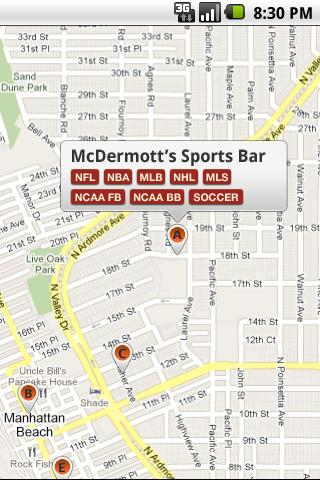 sports bar finder android