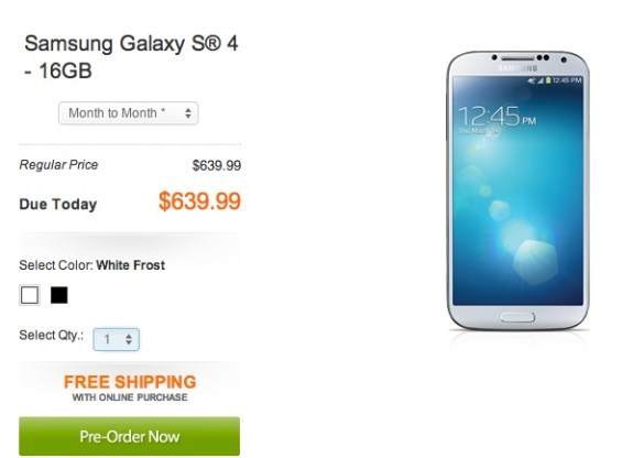The Samsung Galaxy S4 off-contract price is $639.99.