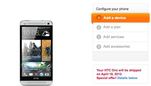 AT&T says it will ship the HTC One on April 16th.