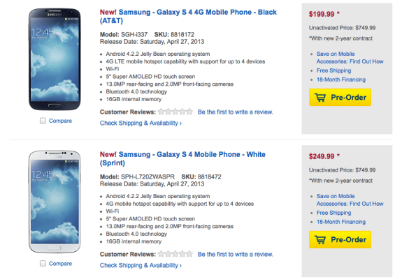 Best Buy will be following the lead of the carriers with its Galaxy S4 release dates.