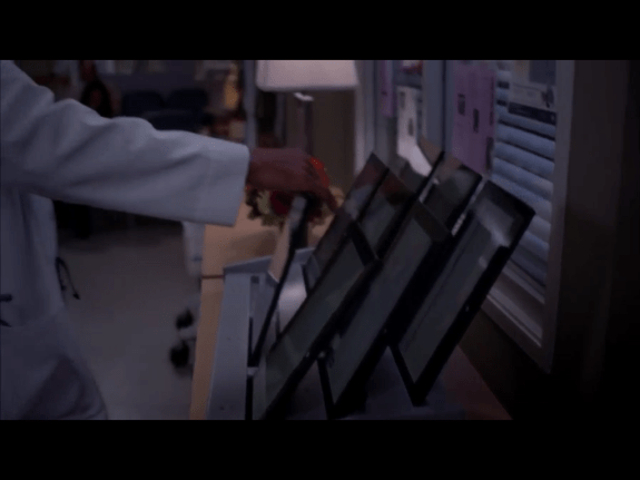 A fleet of Surface tablets. Despite the number of tablets on use at the hospital, viewers may not be easily able to tell that it's a Microsoft Surface.