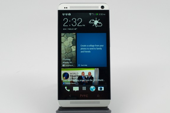 The Verizon HTC One with it's custom BlinkFeed home screen.