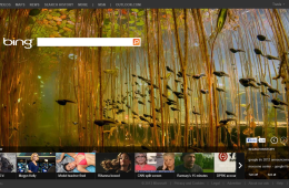Internet Explorer 10 completely hides all elements other than the website itself so that website designers can create immersive experiences, like in this example using Bing.