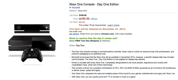 Retailers like Amazon are taking pre-orders for the Xbox One.