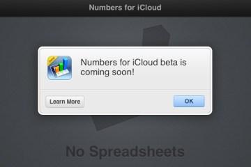numbers for icloud beta