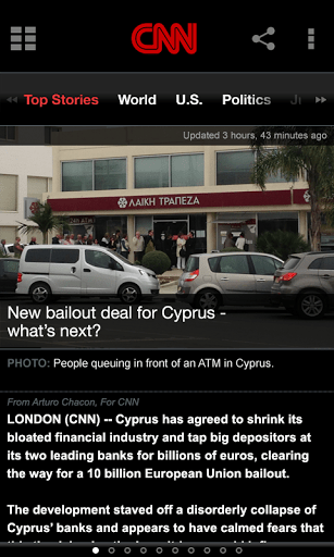 CNN app for smartphone: one column view and just stretches to fill a phablet display. Cannot load in tablet mode with multi-column view.