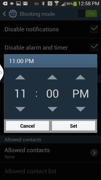 blocking mode time setting