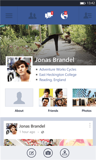 The new Facebook for Windows Phone 8 refresh uses a single, rather than panoramic, pane. Users scroll vertically. It is consistent with the official Facebook app for other platforms, like iOS and Android, but not consistent with Windows Phone