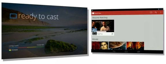 Netflix streaming to a television set using the Chromecast device.