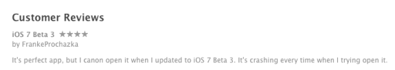 The iOS 7 beta 3 isn't working on LivingSocial.