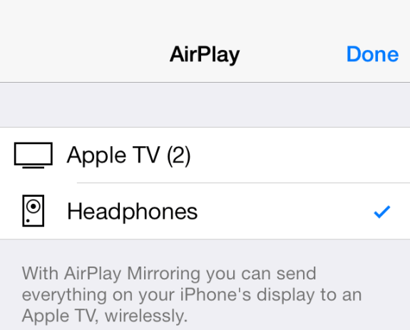 New Airplay icons in iOS 7 beta 4.