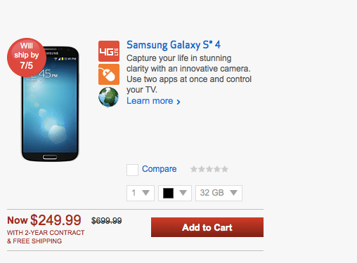 The Galaxy S4 32GB is available on Verizon. For a steep price.