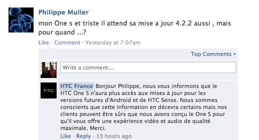 HTC France says that the HTC One S won't get any future Android or Sense updates.