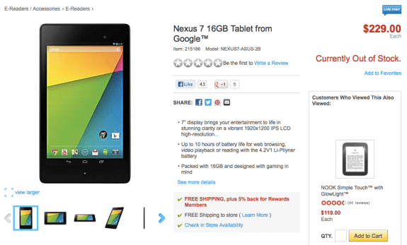 Amazon and Staples have already seen Nexus 7 stock dwindle.
