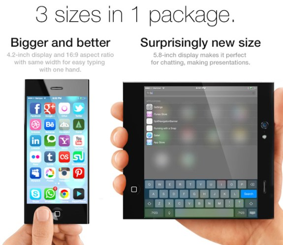 A foldable iPhone 6 concept offers three screen sizes.