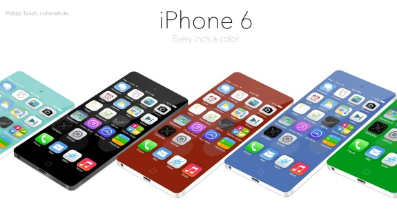 The iPhone 6 concept blends color with aluminum and a larger screen.