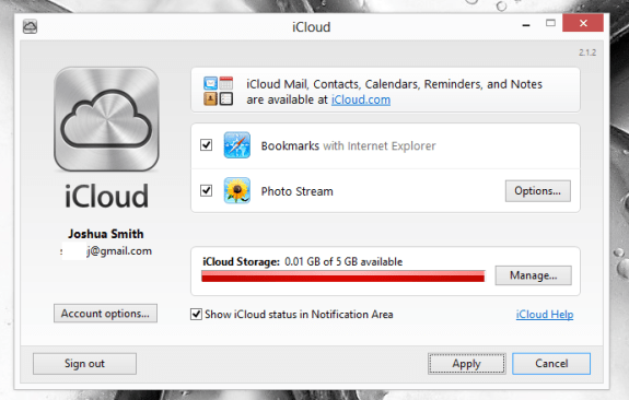 Choose Photo Stream settings in Windows 8.