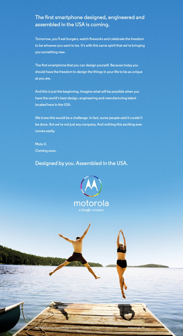 This is the first ad for the Moto X.