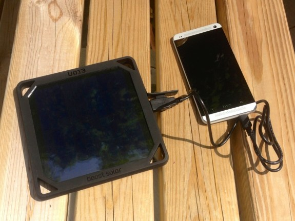 BoostSolar charging the HTC One.
