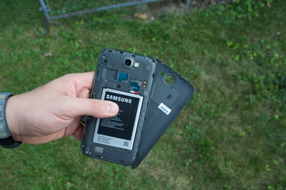 The Note 3 back is likely removable with access to a large battery and a MicroSD card slot.
