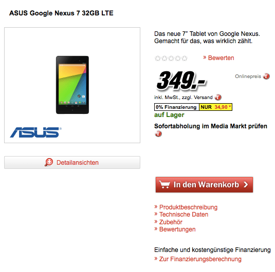 At least one retailer is already selling the Nexus 7 LTE.