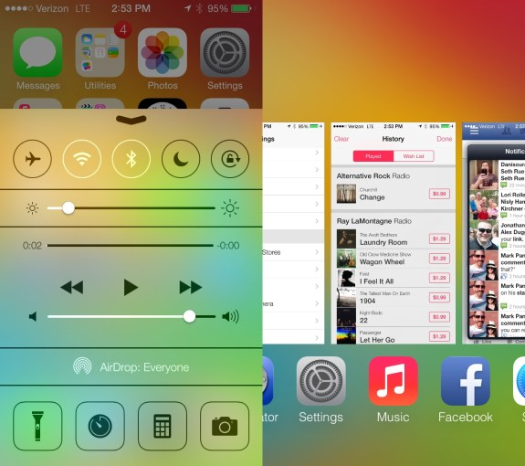 Control Center is new in iOS 7, as is a redesigned Multitasking display.