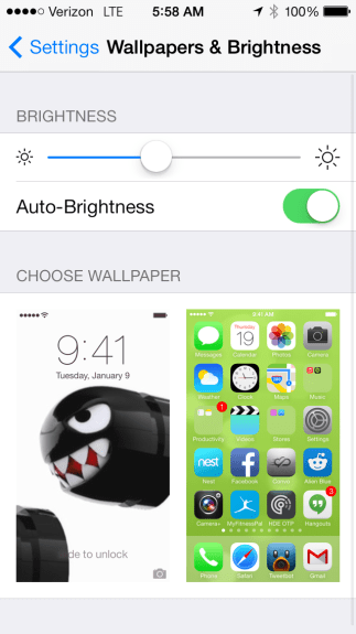 In iOS 7 make sure Auto-Brightness is on to get better battery life.