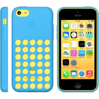 Colorful hue from iPhone 5c shows through the circular cutout of the Apple-designed case.