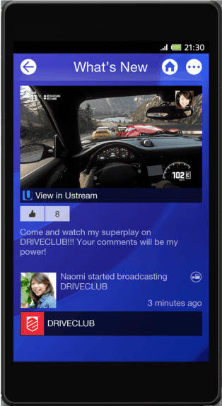 The PlayStation Mobile app.