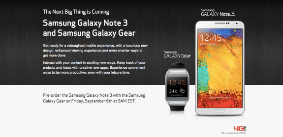 Verizon Galaxy Note 3 pre-orders start tomorrow.
