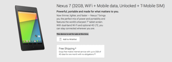 The Nexus 7 LTE is currently unavailable on Google Play.