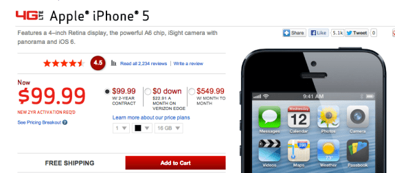 The Verizon iPhone 5 is $100 off on contract and off contract as the carrier looks to closeout the old iPhone before the iPhone 5c and iPhone 5s release.